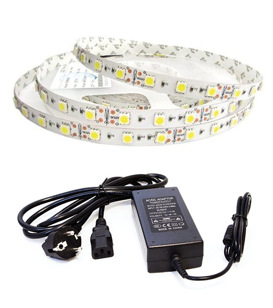 BOBINA STRISCIA LED SMD5050 300 LED IP 65 (RESISTENTE ALL'ACQUA) CON ALIMENTATORE